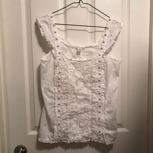 Odille White Lace and Ruffle Top